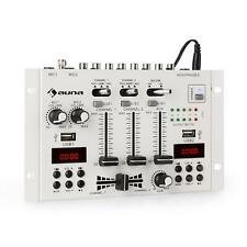 Mixer Table mixage DJ 3 canaux Bluetooth 2x USB AUX TRS Line phono Jack - Blanc
