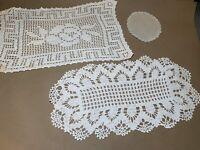 Vintage Handmade Crochet Lace Doilies 3 Pieces LOT DY5