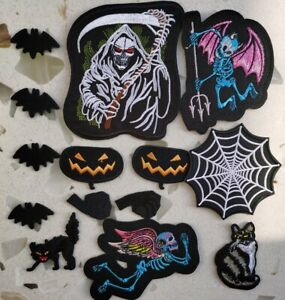 14Pcs Halloween Patches Embroidered Demon Bat Spider Web Iron on/Sew on Applique