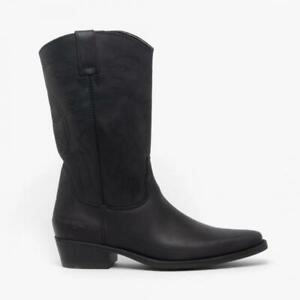 Wrangler Texas Hi Mens Leather Calf Length Cowboy Boots Black UK 7