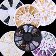 3D Nail Art Tips Studs Gem DIY Crystal Glitter Rhinestone DIY Decoration Wheel