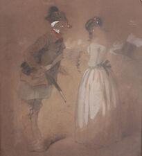 """EDOUARD DE BEAUMONT DESSIN   """" GARDE-CHAMPETRE tançant SA FILLE"""""""