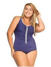 Women's One Piece Built-in Cup Front Zipper Beach Swimsuit Plus Size Swimwear 22