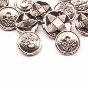 Lot (13) Czech vintage silver metallic black geometric flower glass buttons