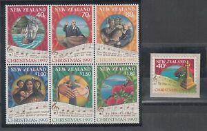 New Zealand: 1997 Christmas set block of 6 + S/A.L/Jury C120-C126a.  MUH & Cheap