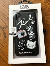KARL LAGERFELD Black Iconic iPhone X / XS Case Cute Classic NEW Chanel Director