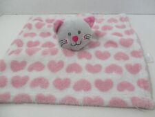 Kidgets baby gray cat kitty kitten white pink hearts baby security blanket lovey