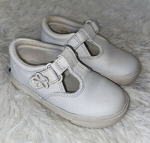 Keds Girls White Leather Ella Mary Jane Hook Loop Sneaker Shoes Size 7 W