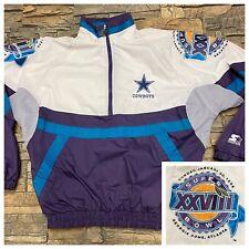 Vtg Dallas Cowboys Super Bowl XXVIII Starter ProLine Jacket Pullover Large RARE