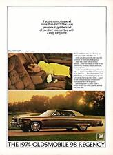 Old Print.  1974 Oldsmobile 98 Regency Coupe Auto Ad