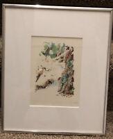 "Michigan artist Jean Wetzler, Original Watercolor, ""Woodland & stream""  Vintage"