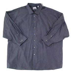 Calvin Klein Mens Dress Shirt Blue Size 22 Big&Tall Non-Iron Performance $79 013