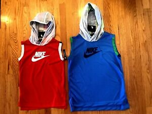 NWT-Nike Sleeveless Hoodie with Large Swoosh-Youth, Red or Blue, M, L, XL