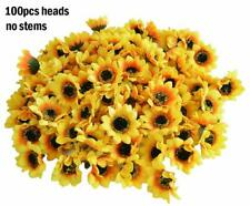 100pcs Artificial Silk Yellow Sunflower Heads Fabric Floral Home Wedding Decor