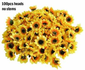 100pcs Artificial Silk Yellow Sunflower Heads Fabric Floral Home Wedding Decor