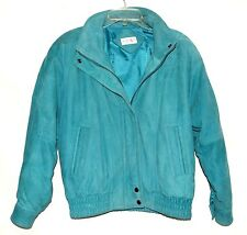 Vintage Nordstrom Point of View Turquoise Suede Womens Zip Jacket Size M Korea