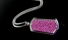 Men's 14K White Gold Dog Tag With Rubies By Sacred Angels