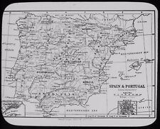 Glass Magic Lantern Slide SPAIN AND PORTUGAL MAP C1900 DRAWING