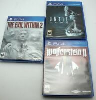 (3) PS4 Playstation 4 Wolfenstein II New Colossus & Until Dawn & Evil Within 2