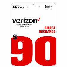VERIZON Prepaid $90 Refill Top-Up Prepaid Card / DIRECT RECHARGE