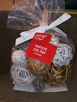 ~~NEW~~Set of Natural Decorative Orbs Twigs Wicker Balls~~White, Gold, Silver~~~