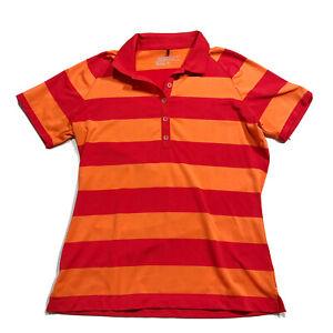 Nike Tour Performance Golf Dri Fit Polo Shirt Womens Medium Red Orange Striped