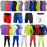Mens Gym Baselayer Compression Tight Tops T-shirt Gear Pants Shorts Sportswear
