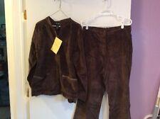 Denim Company  Brown Corduroy Pants Suit Size 1X NWT