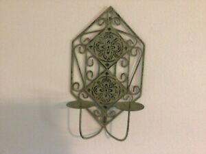 Shabby chic sage green distressed metal candle holder wall hanging