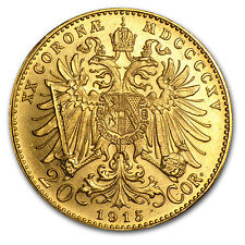 1915 Austria Gold 20 Coronas AU (Restrikes) - SKU #12646