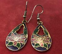 Vintage Earrings Drop Dangle Gold Tone Flower Enamel Cloisonne