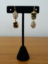 ALEXIS BITTAR MISMATCHED DOUBLE-DROP EARRINGS, GREEN/SILVER TONE. NEW