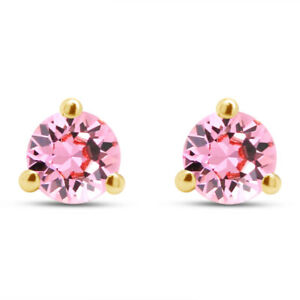 Simulated PinK Tourmaline Stud Martini Round Cut Earrings in 14K Yellow Gold