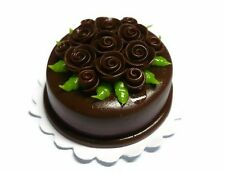 Chocolate Round Cake Rose Top Dollhouse Miniatures Food  Valentine Day (3 cm)