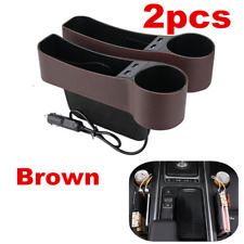 PU Leather Catch Caddy Car Seat Console Gap Filler Side Organizer Pocket 2 Pack
