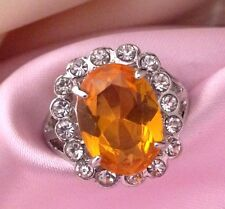 Vintage Cocktail Ring Citrine Glass Crystal Accents Retro Costume Sz 8.75