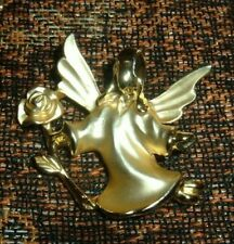 Rose Frosted & High Polish Gold-tone Guisti Gigio Signed Pin Brooch Angel With