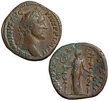 Brass sestertius of Antoninus Pius.  Concordia militum with 2 standards.