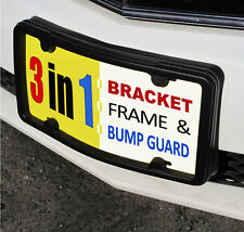 License Plate Frame, Bracket & Bumper Guard. black tag holder mount front ld ni1