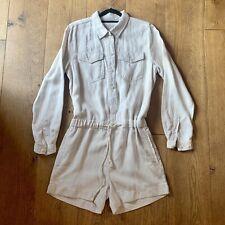 Ecru Cotton Linen Denim Button Front Shirt  Drawstring Playsuit Size Small 8-10