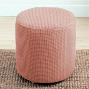 Cylindrical Round Footstool Cover Waterproof Jacquard Ottoman Footrest Covers