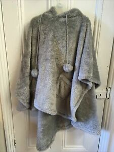 Cozee Home Fluffy Poncho Top with Pom Pom Trim - one size and new Grey