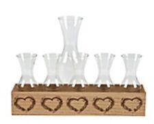 Wedding Sand Ceremony Family Unity Set  - 7 Piece Set Glass and Wood