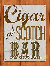 "TIN-UPS TIN SIGN ""Cigar And Scotch Bar"" Whiskey Alcohol Bar Man Cave Vintage Ad"