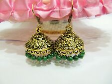 Awesome Green Chalcedony Gold Oxidize Plated Jhumka Drop/Dangle Earrings Jewelry