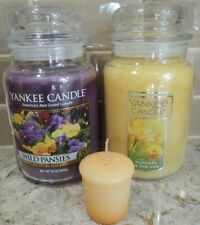 Two Yankee Candle 22 oz FLOWERS IN THE SUN + WILD PANSIES + RARE RETIRED Votive