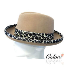 Color5 New Lady women Girl Bucket Fedora Wool Felt Hat Cap with Leopard Band
