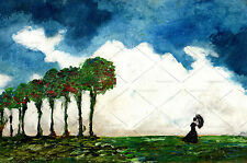 Lady in Wind w Trees Clouds Blue Sky IMPRESSIONIST LANDSCAPE Oil Painting SIGNED