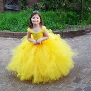 Belle Costume Kids Princess Beauty and The Beast Yellow Fancy Dress Gown