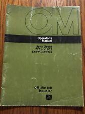 John Deere 726 832 Snow Blowers OMM81400 Operators Manual Book